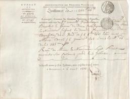 QUITTANCE Fait à Bruxelles Le 06 Aout 1808 - Superbe Sur Papier Filigrané  -  BEAU CACHET FRANCAIS - Historical Documents