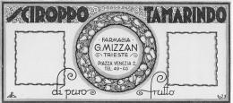 """03971 """"SCIROPPO TAMARINDO - DI PURO FRUTTO - FARMACIA G. MIZZAN - TRIESTE - 1928""""  ETICHETTA ORIG.-ORIGINAL LABEL - Frutta E Verdura"""