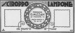 """03972 """"SCIROPPO LAMPONE - DI PURO FRUTTO - FARMACIA G. MIZZAN - TRIESTE - 1928""""  ETICHETTA ORIG.-ORIGINAL LABEL - Frutta E Verdura"""