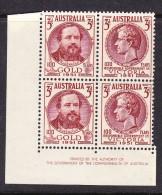 Australia 1951 - 3d. Gold Discovery - Corner IMPRINT Block 4 - MH - 1937-52 George VI