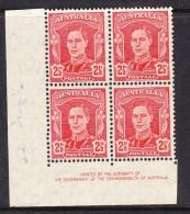 Australia 1942 - 2½d Geo V1 Scarlet-  IMPRINT Corner Block 4 - MH - 1937-52 George VI
