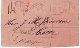 1846- Letter From GEFLE To Cette ( South Of France ) Rating 29 D. + C P R 4 + Franco Stralsund - Schweden