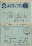 BIGLIETTO FRANCHIGIA WWII POSTA MILITARE 46 1941 PLANINA SLOVENIA X FERRARA - Poste Militaire (PM)