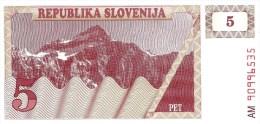 SLOVENIA 5 TOLARJEV  LIGHT BROWN MOUNTAINS LANDSCAPE FRONT  MOTIF BACK  DATED 1990 P.3 UNC  READ DESCRIPTION - Slovénie