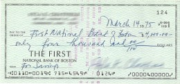 @@@ THE FIRST NATIONAL BANK OF BOSTON CHEQUE, DATED 1975, USD 4.000 - Cheques & Traverler's Cheques