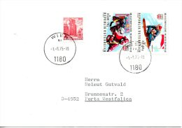 AUTRICHE. N°1308-9 De 1975 Sur Enveloppe Ayant Circulé. J.O. D'Innsbruck/Ski/Hockey Sur Glace. - Invierno 1976: Innsbruck