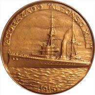 ESPAÑA. MEDALLA XXX SALON NAUTICO INTERNACIONAL BARCELONA 1.991. ACORAZADO ALFONSO XIII. SPAIN. ESPAGNE - Profesionales/De Sociedad