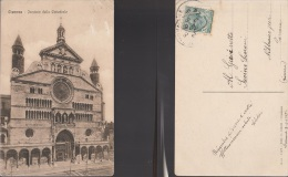 4335) CREMONA FACCIATA DELLA CATTEDRALE VIAGGIATA 1915 - Cremona