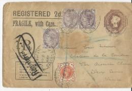 GB - 1900 - ENVELOPPE ENTIER POSTAL RECOMMANDEE PRIVEE De LONDON Pour ARGENTON - ETIQUETTE SCOTT Au DOS - Marcofilie