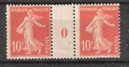 """France, MILLESIME, Semeuse Camée 10 C Rouge N° 138 PAIRE Interpanneau """" 0 """" , 1910, Neuve ** / MNH , TB - Millésimes"""