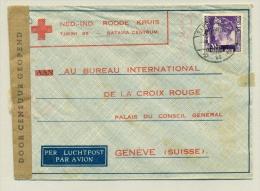 Nederlands Indië - 1941 - 35 Cent Wilhelmina Op Censored Rode Kruis Brief Van LB SANGASANGA Naar Genève / Suisse - Nederlands-Indië