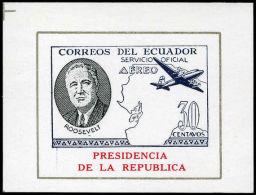 Ecuador 1949 Presidencia Roosevelt 30C Air Block , Unmounted Mint. - Ecuador
