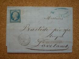 Lettre Pour Lavelanet Affranchie N°14 Oblitération PC 3318 Tarascon Sur Ariège 1862 - 1849-1876: Classic Period