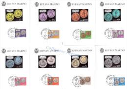 Serie N°8 Cartoline MAXIMUM REPUBBLICA SAN MARINO - I° Giorno FAIP - MONETE DELLA REPUBBLICA - Monete (rappresentazioni)