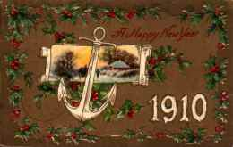 Année Date Millesime - 1910 - Paysage Ancre Houx - Embossed, Gaufrée - Anno Nuovo