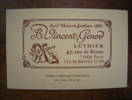 B. Vincent-Genod ( Ancienne Maison Jombar - 1886), Luthier, Paris - Cartes De Visite