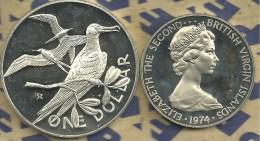 BRITISH VIRGIN ISLANDS $1 BIRD BIRDS FRONT QEII HEAD 1974 AG SILVER PROOF KM6a READ DESCRIPTION CAREFULLY!! - Iles Vièrges Britanniques