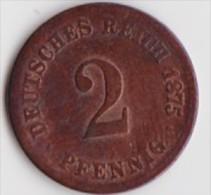 ALLEMAGNE  2  DEUTCHES REICH PFENNIG  ANNEE 1875  (LETTRE A  BERLIN)     LOT ALL2067 - 2 Pfennig