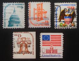 SERIE COURANTE 1975 - OBLITERES - YT 1071/74 + 1076A - Etats-Unis