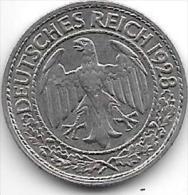 *weimar Rep 50   Pfennig 1928 A Km 49    Xf+ !!! Catalog Val 20,00$ - [ 3] 1918-1933 : República De Weimar