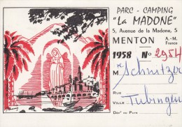 "Rechnung Camping Platzgebühr ""La Madone"", Menton 1958 - Verkehr & Transport"