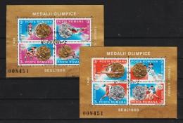 1988 - Medailles Olimpique A Seul Mi No BL 250/251 Et Yv Bf 199/200 F.D.C. - Gebraucht