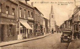 CPA - DENAIN (59) - Aspect De La Rue De Villars Et De L'Eglise St. Martin En 1930 - Denain
