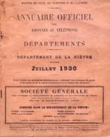 DEPARTEMENT DE LA NIEVRE - JUILLET 1930 - PUB Sur La POLICE PRIVEE - Annuaires Téléphoniques