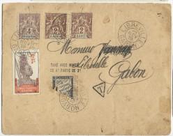 GABON - 1910 - ENVELOPPE De LIBREVILLE Avec AFF. GROUPE TAXEE à 2c Avec 1/2 TIMBRE DUVAL 4c FAUTE De 2c - Gabon (1886-1936)