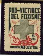 VINETA  PRO  VICTIMES DEL FEIXISME COOPERATIVA PAZ Y JUSTICIA   5cts  No Catalogada    REF V122 - Viñetas De La Guerra Civil