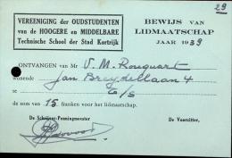Lidkaart Oudstudenten Technische School Kortrijk 1939 - Tickets - Entradas
