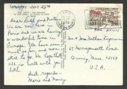 N° 1645 - 0.95 Abbaye Chancelade / PARIS - 26.07.1970 / Carte Postale Avion Pour U.S.A......au Tarif - 1961-....