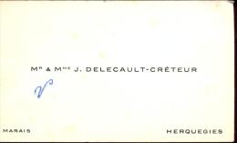 Visitekaartje Carte Visite - Mr & Mme  Delecault - Créteur - Herquegies - Cartes De Visite