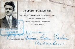 CARTE De PRESSE - PARIS PRESSE 52 Rue Taitbout PARIS (IXe) - Vieux Papiers