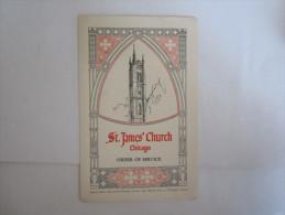 Publicité  Brochure Touristique Dépliant Etat Unis Chicago Saint James' Church - Publicités