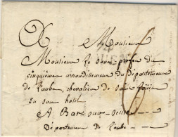 LETTRE  TAXE  DE  BAR-SUR-SEINE : Adresse Au Sous-Prefes - Marcophilie (Lettres)