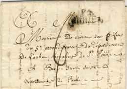 LETTRE  TAXE  De  BAR-SUR-SEINE : Adresse Au Sous-Prefet - Marcophilie (Lettres)