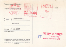 37677- AMOUNT 20, DONAUWORTH, HOUSE, RED MACHINE STAMPS ON POSTCARD, 1967, GERMANY - BRD