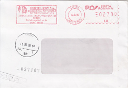 37788- AMOUNT 2700, SIBIU, ROMTELECOM COMPANY, RED MACHINE STAMPS ON COVER, 1999, ROMANIA - 1948-.... Républiques