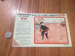 """Buvard """"BAS & SOCQUETTES DD - Les Phrases Historiques - PHRASE E - Illustration GAD"""" - Textile & Vestimentaire"""