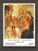 GHANA - 1994 BARTOLO DI FREDI Adorazione Dei Re Magi (Metropolitan Museum Of Art, New York) Nuovo** MNH - Religion