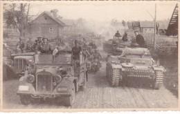 PHOTO MILITAIRE WW2 Guerre @ Division Blindé Allemand Troupes Motorisés Char Auto Moto - Guerre, Militaire