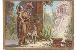 Image Chromo Dépendances Du BAZAR DE L´HOTEL DE VILLE PARIS Aquador VUE DU TEMPLE MEXICAIN / MEXIQUE CHIEN - Trade Cards