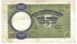 BANCA NAZIONALE D'ALBANIA 5 FRANCHI 1939 OCCUPAZIONE ITALIANA LOTTO 735 - [ 1] …-1946 : Koninkrijk