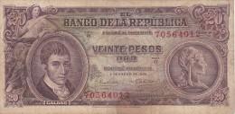 BILLETE DE COLOMBIA DE 20 PESOS DE ORO DEL AÑO 1965  (BANK NOTE) - Colombia
