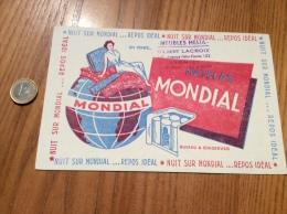 "Buvard * ""MATELAS MONDIAL - MEUBLES HELIA GILBERT LACROIX LYON (69)"" - M"