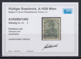 (02744) Danzig 1 Gestempelt Geprüft Befund Verstümmelter Aufdruck - Danzig