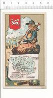 Chromo Carte Géographique Département Morbihan Blason Bretagne Costume Breton Cornemuse Menhirs  IM 69-G-1 - Autres