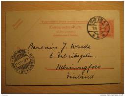 Wien 1905 To Helsinki Finland 10 Heller Postal Stationery Card - Stamped Stationery