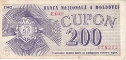 BILLETE DE MOLDOVA DE  200 CUPON DEL AÑO 1992 (BANKNOTE) - Moldova